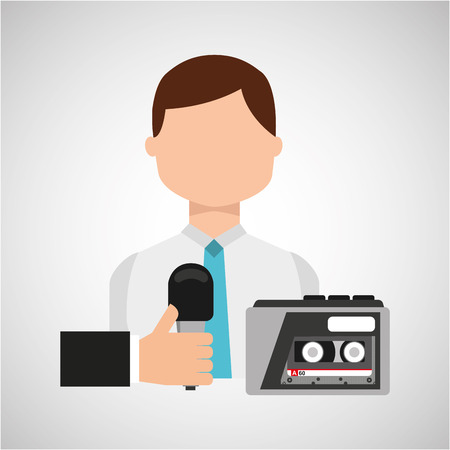 tape recorder: interview news microphone and tape recorder vector