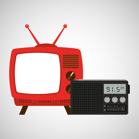 old newspaper: tv radio vintage news concept vector illustration