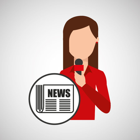 newsreader: character woman reporter newspaper graphic vector illustration eps 10
