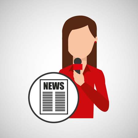 newscast: character woman reporter news headline microphone graphic vector illustration