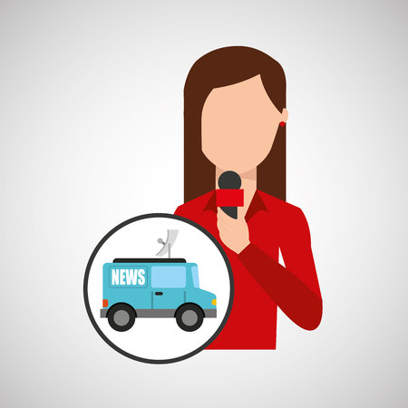 character woman reporter news graphic vector