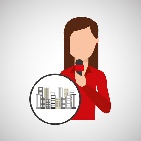 character woman reporter news broadcast graphic vector