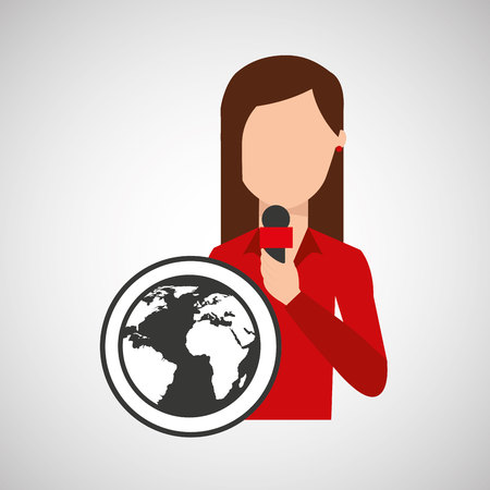 character woman reporter news world graphic vector Illustration