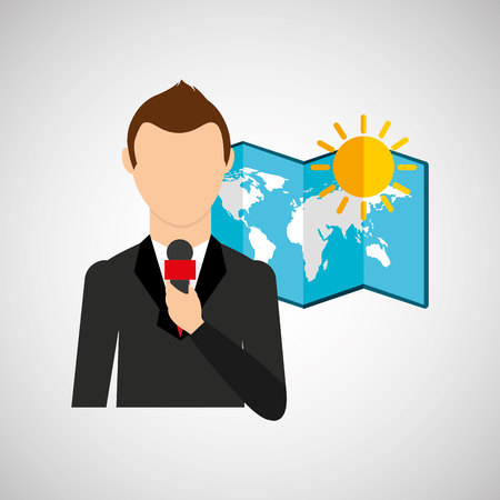 meteorologist: tv news weather reporter sunny day icon vector