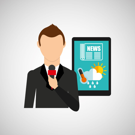 correspondent: news weather reporter digital icon vector illustration Illustration