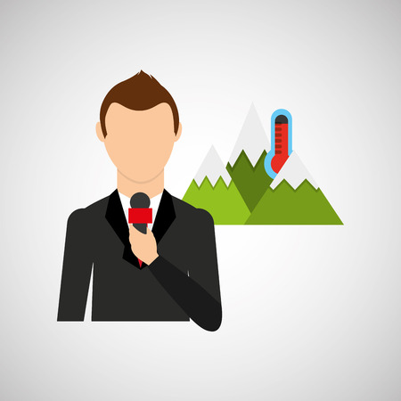 meteorologist: tv news weather reporter icon vector illustration