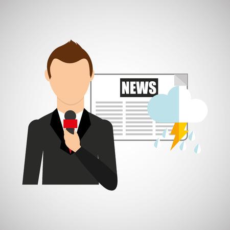 newsroom: reporter man weather forecast newspaper design vector