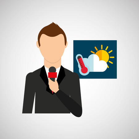meteorologist: tv news weather reporter meteorology icon vector