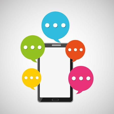 mobile smartphone bubble speech icon vector