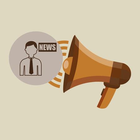 megaphone concept news anchorman design vector