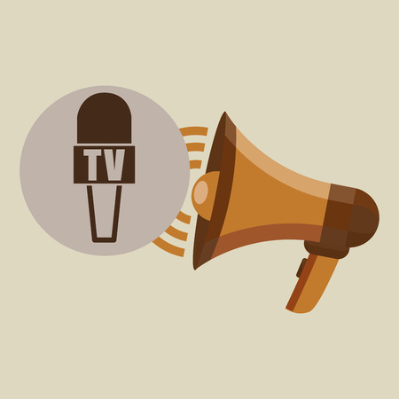 old newspaper: megaphone concept microphone news design vector illustration Illustration