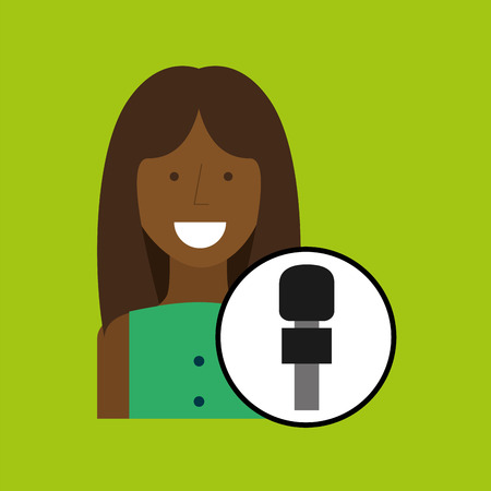 woman correspondent news world graphic vector