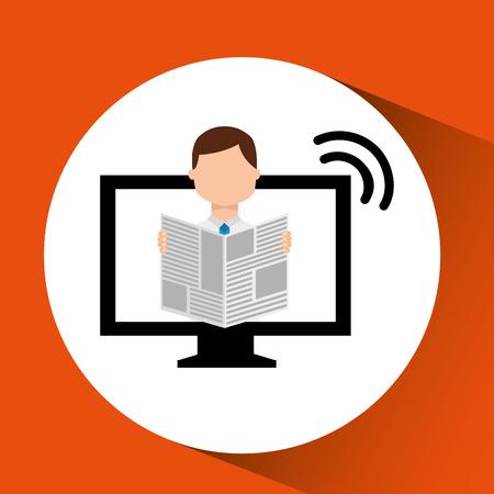 reading news: man reading news breaking vector illustration