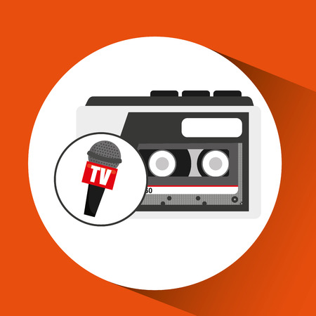 tape recorder microphone tv news icon vector