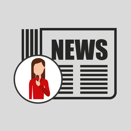 announcer: character woman reporter newspaper graphic vector