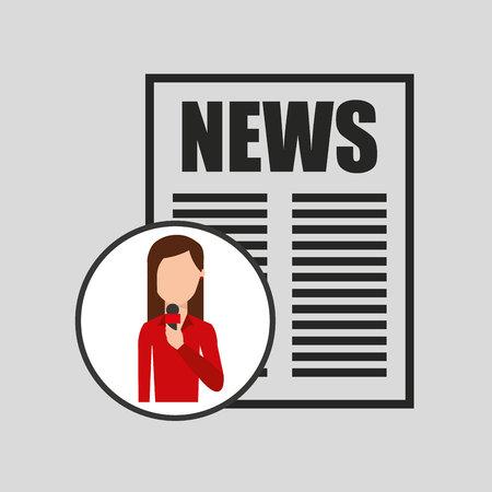 headline: character woman reporter news headline microphone