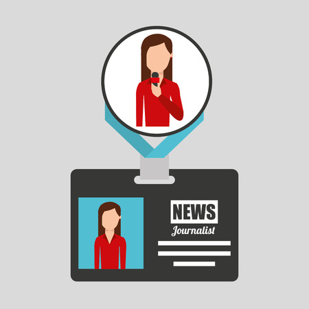 taking notes: woman journalist card news graphic vector illustration
