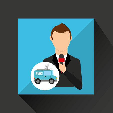 reporter man truck news design vector illustration Illustration