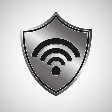 シンボル wifi シールド金属アイコン デザイン ベクトル イラスト eps 10  イラスト・ベクター素材