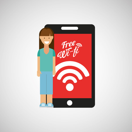 woman smartphone: woman smartphone internet wifi free icon vector illustration eps 10
