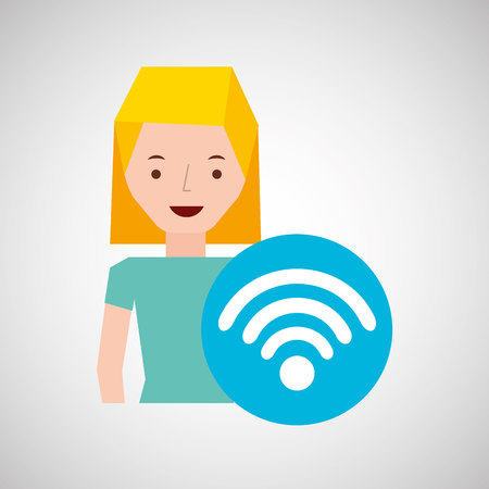 wireless internet: woman cartoon wifi wireless internet design