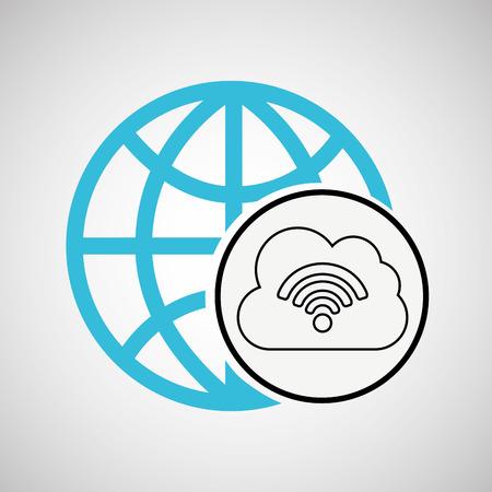 connection concetp globe cloud wifi