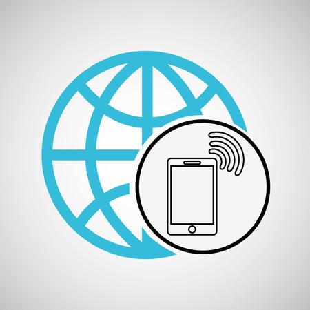 connection concept globe smartphone wifi