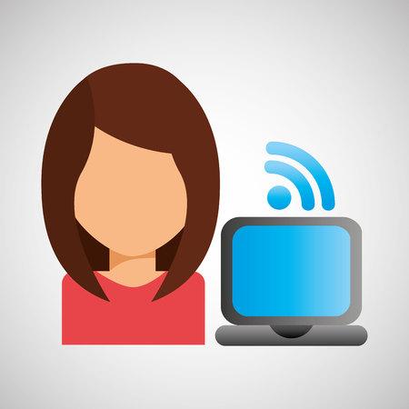girl laptop: girl character wifi laptop
