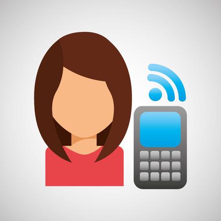 cellphone: girl character wifi cellphone
