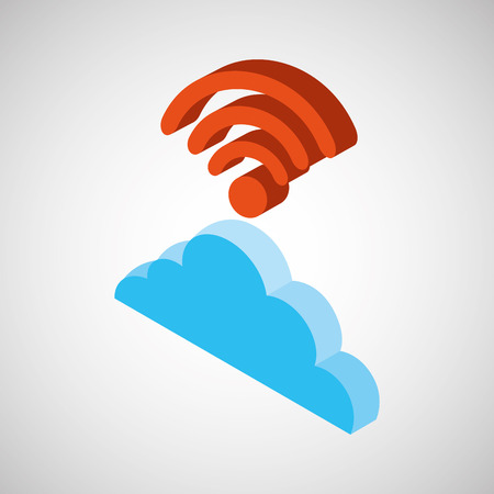 wireless connection: cloud wifi wireless connection design Illustration