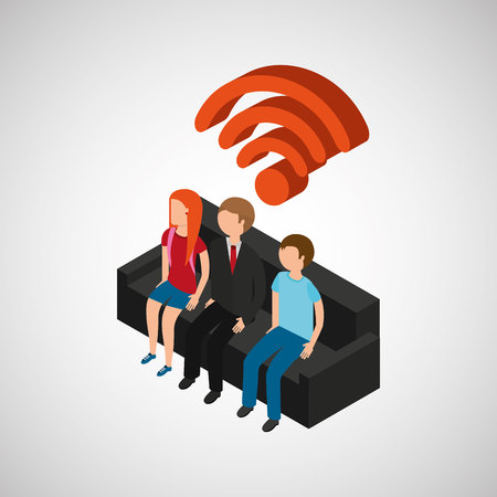 family house wifi connection tv Illustration