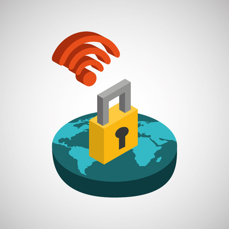 global connection wifi digital security Illustration