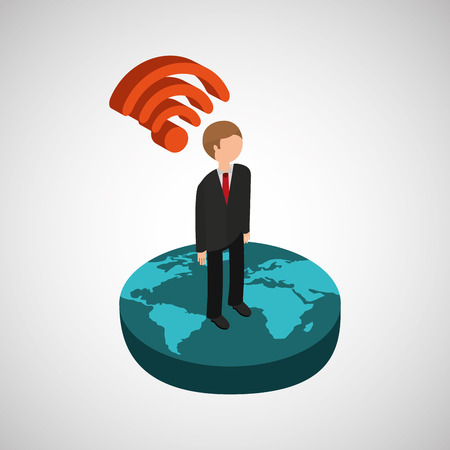 multimedia background: global connection wifi digital businessman Illustration