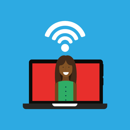 woman with laptop: woman laptop wifi internet icon graphic