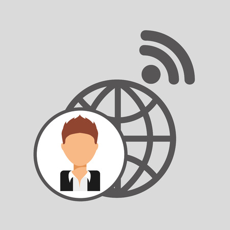 guy cartoon wifi globe vector illustration
