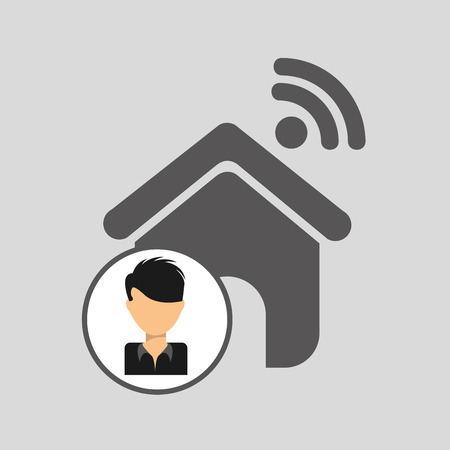 guy cartoon wifi home vector illustration