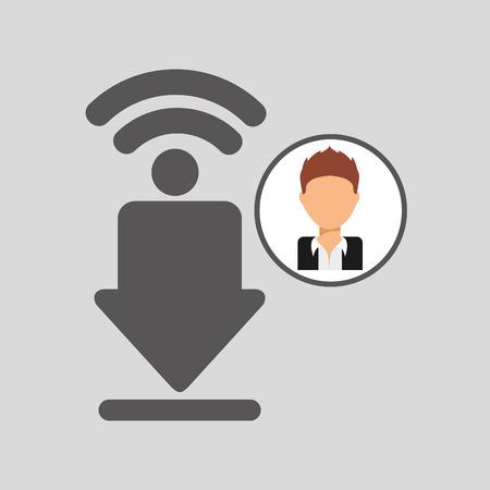 post man: guy cartoon wifi download vector illustration