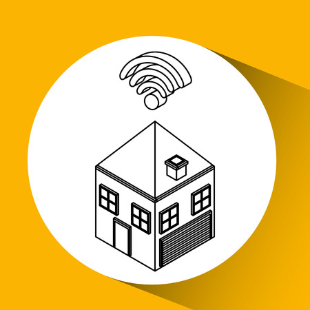 connection wifi house icon vector illustration