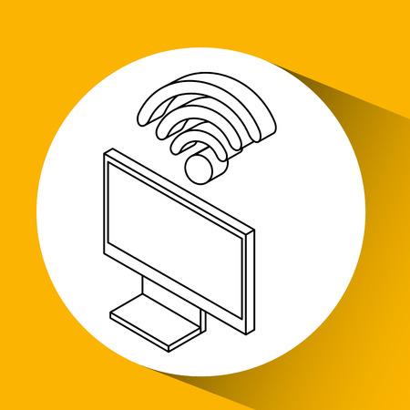 hdtv: tv plasma wifi internet design vector illustration Illustration