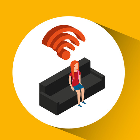 family house wifi connection tv vector illustration