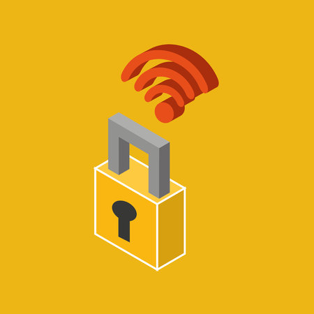 global connection wifi digital security vector Illustration