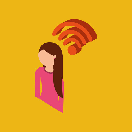 global connection wifi digital girl vector illustration Illustration