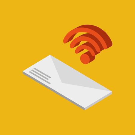 global connection wifi digital message envelope vector Illustration