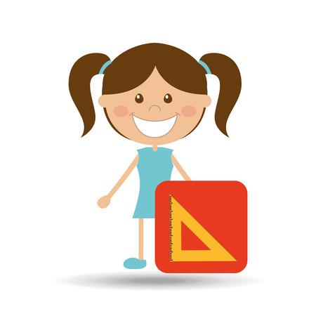 squad: happy girl student school squad icon vector illustration Illustration