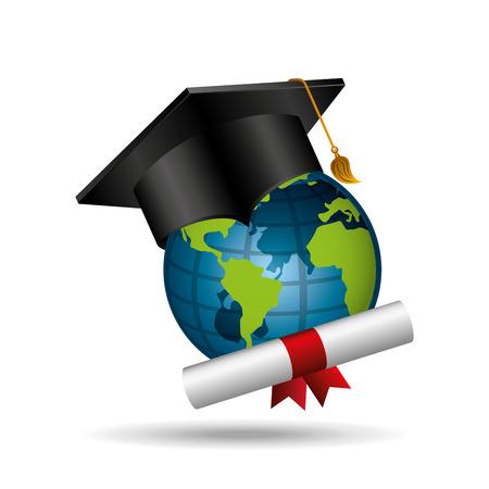 distance education graduation icons Illustration