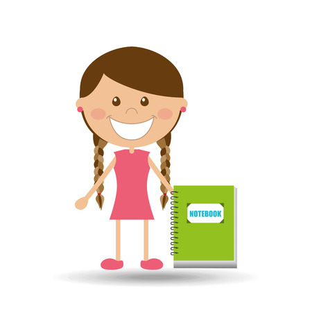 cheerful girl study notebook design vector illustration