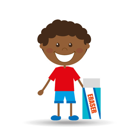 niño parado: Estudiante feliz del niño icono del borrador de gráficos vectoriales