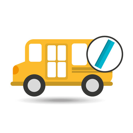 school bus ruler icon graphic vector illustration