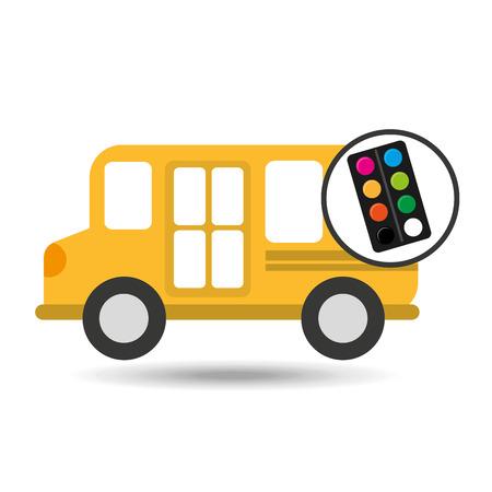 marca libros: colores de la paleta Concepto de la escuela de autobús