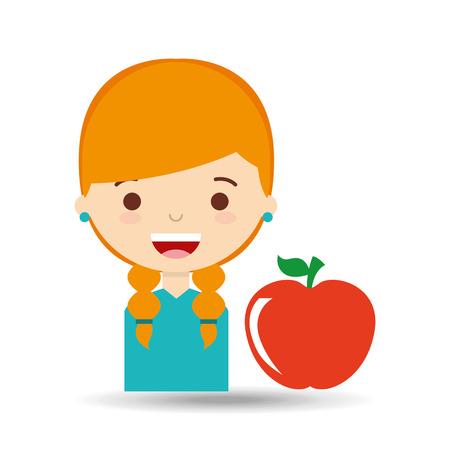 beautiful girl blonde student apple